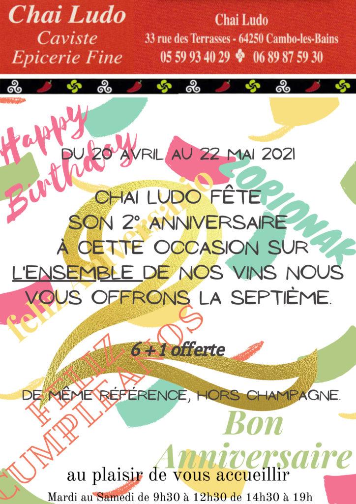 2ème anniversaire d'ouverture Chai Ludo